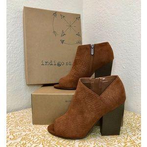 INDIGO RD. Peep Toe Heeled Booties, Brown ~Size 7